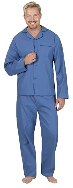 Lora Dora Hombre Fácil Cuidado Polialgodón Clásico Pijama Largo Pijama Pijama Ropa de Descanso - Azul