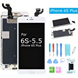 For iPhone 6S Plus Screen Replacement LCD Display with Home Button Front Camera Speaker 3D Touch Digitizer Glass Assembly +Tools for iPhone 6s Plus White 5.5'' (A1634, A1687, A1699)