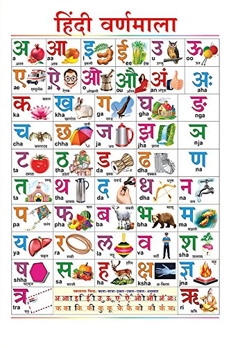 100yellow Hindi Varnmala Chart  (Paper, 12x18 inch, Multicolour