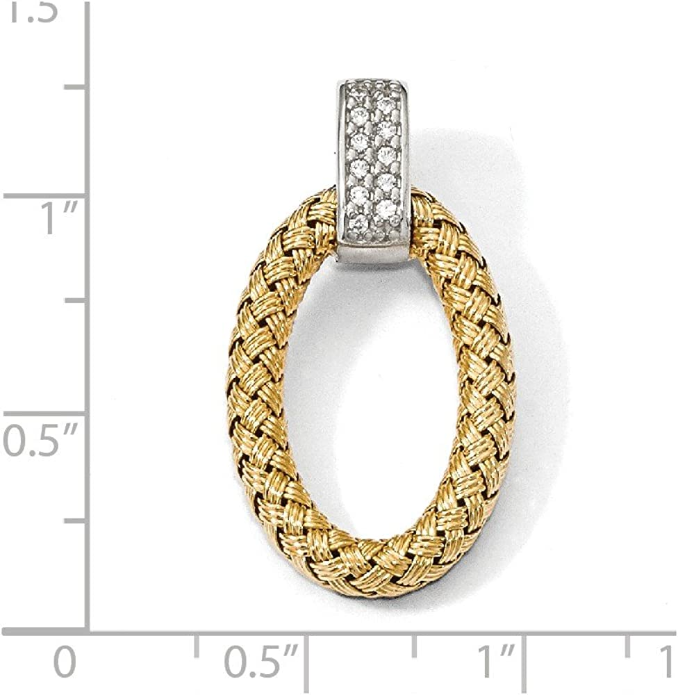 925 Sterling Silver Yellow and CZ Cubic Zirconia Braided Oval Pendant Charm 36mm