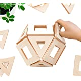 Magnetic Wooden Blocks for Kids | Earthtiles - Wooden Magnetic Tiles - 32 Piece Set