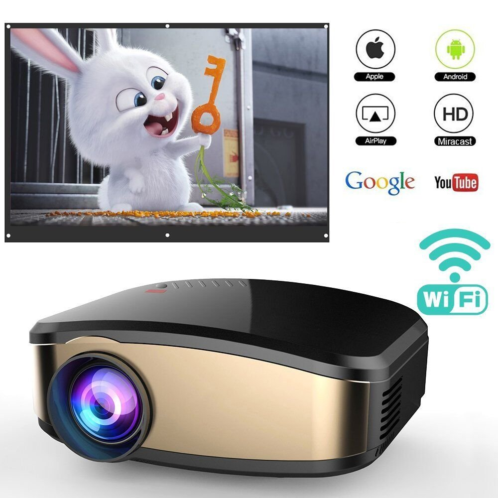 WiFi Projector for Smartphones, WEILIANTE Portable Mini LED Movie Video Projector Support Full HD 1080P with HDMI USB SD VGA AV for Home Cinema TV Laptop, Upgraded by WEILIANTE