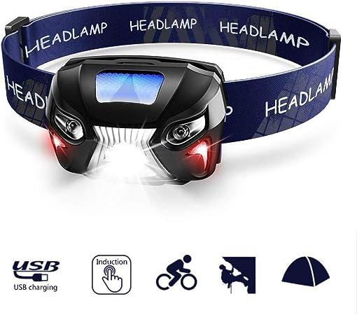 ideal para interiores y exteriores Linterna frontal recargable por USB 8 sensor modo manos libres e impermeables modos con luces rojas