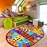 Furnish my Place Kids ABC Area Rug Educational Alphabet Letter and Numbers Multicolor Actual Size Anti-Skid, Oval