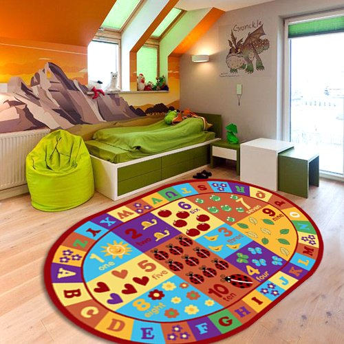 Furnish my Place Kids ABC Area Rug Educational Alphabet Letter and Numbers Multicolor Actual Size Anti-Skid, Oval by Furnish my Place