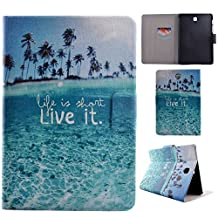 Samsung T715 Case, Showing Totem Series PU Leather Outer Shell + PC Inner Shell Protective Case for 8.0 Inches Samsung Galaxy Tab S2 T715 Tablet Case (Seaside)