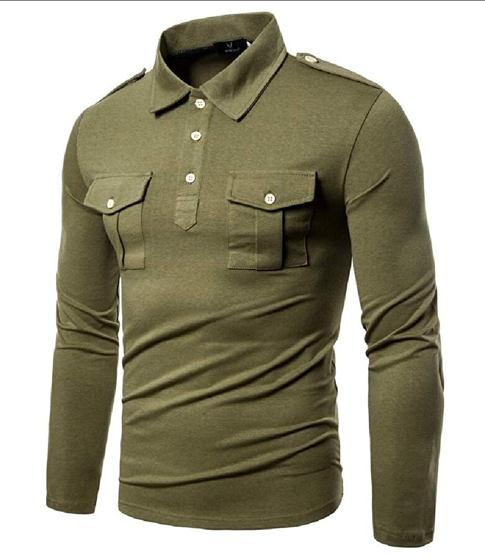 mydeshop Mens Shirt Casual Cargo Long Sleeve Work Tactical Outdoors Shirt
