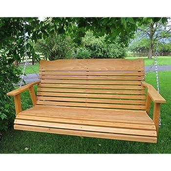 4u0027 Cedar Porch Swing, Amish Crafted W/stained Finish   Includes Chain U0026
