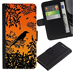 iKiki Tech / Cartera Funda Carcasa - Bird Tree Branch Rainforest Sunset Sitting - Sony Xperia Z1 Compact D5503