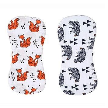 2 piezas masculinas y femeninas común neonatal eructar toalla diseño plegado salival saliva caqui cojín de la leche suave bebé Pad set (Fox/patrón de oso ...