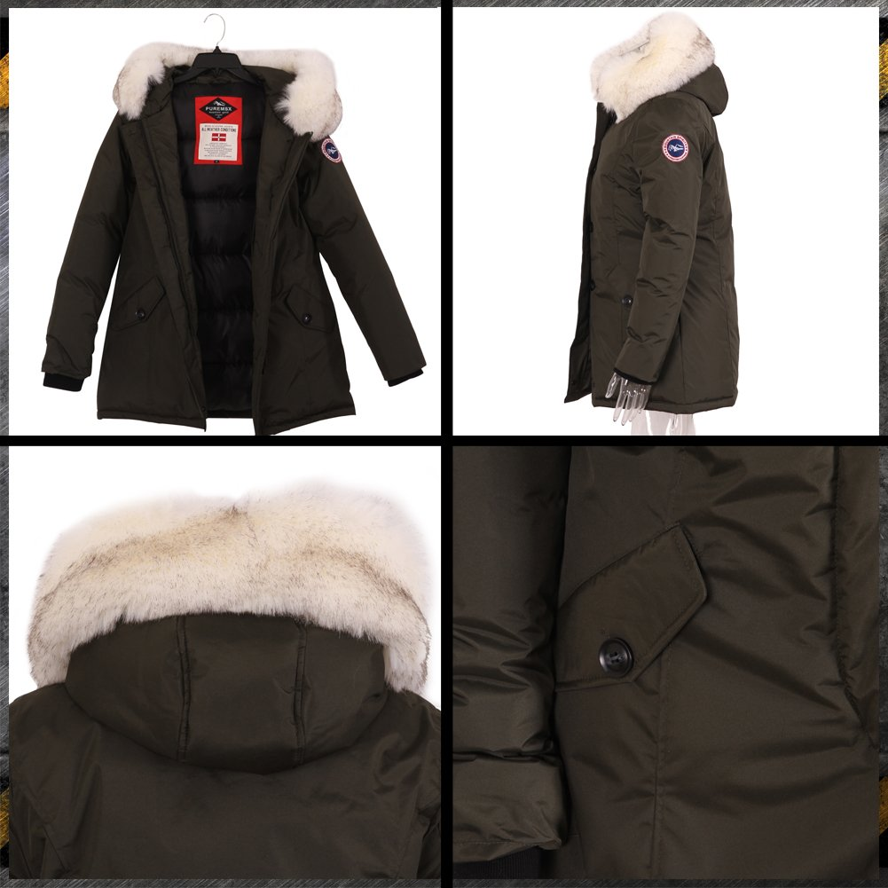 PUREMSX Women's Winter Jacket, Thick Snow Cold Weather Windproof Faux Fur Polyester Ski Anorak,Army Green by PUREMSX (Image #6)