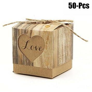 Fascigirl 50 Piezas Caja de CartóN Candy Caja Del Favor de La Boda Creativo DIY Mini Caja de Boda: Amazon.es: Deportes y aire libre