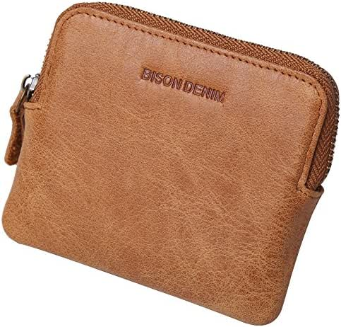 Mens Genuine Leather Coin Purse with Retro Mini Card Holder Case Wallet zipper
