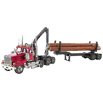 Fascinations Metal Earth ICONX Western Star 4900SB Log Truck & Trailer 3D Metal Model Kit: Toys & Games