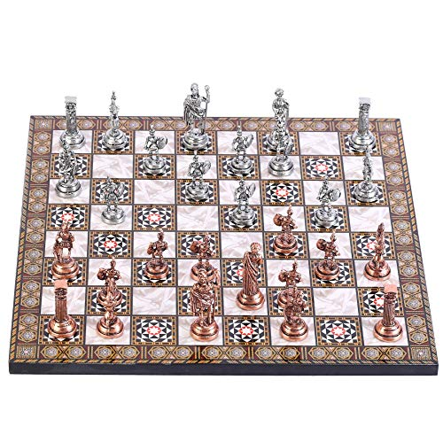 (CHESSLANDTR Antique Copper Roman Figures Metal Chess Set for Adult and Kids, Handmade Cool Pieces and Mother-of-Pearl Patterned Wood Chessboard King 2.8