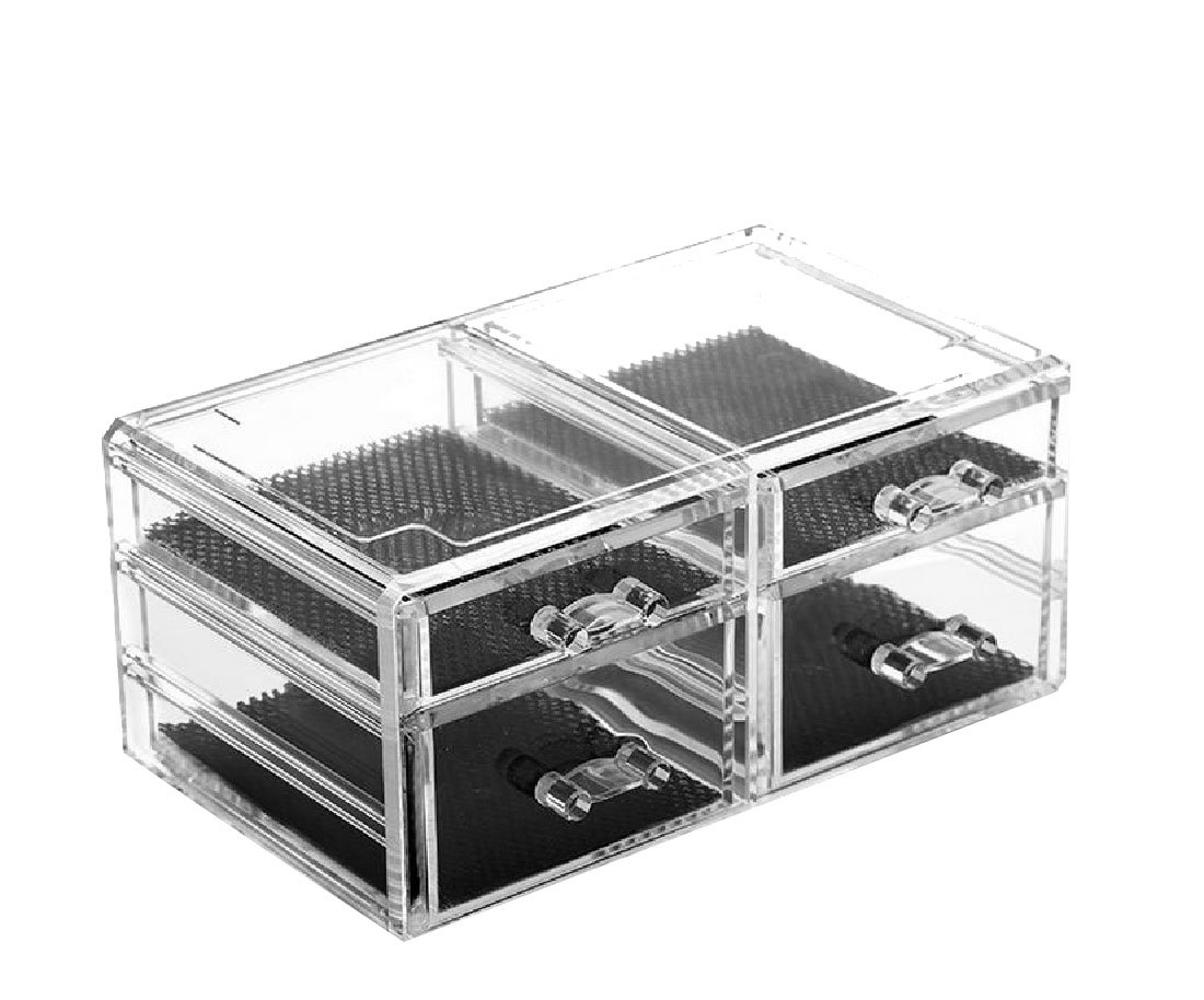Coolred Makeup Organizer Cosmetics Acrylic Case Clear for Creams Jewelry Lipsticks Brushes with 4 Drawers Save Space Cosmetic Storage Display Boxes AS6 One Size by Coolred-Home