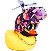 DYBADYSA 1 Pcs Cute Rubber Duck Toy Car Ornaments Yellow Duck Car Dashboard Decorations with Take-Copter Helmet for…