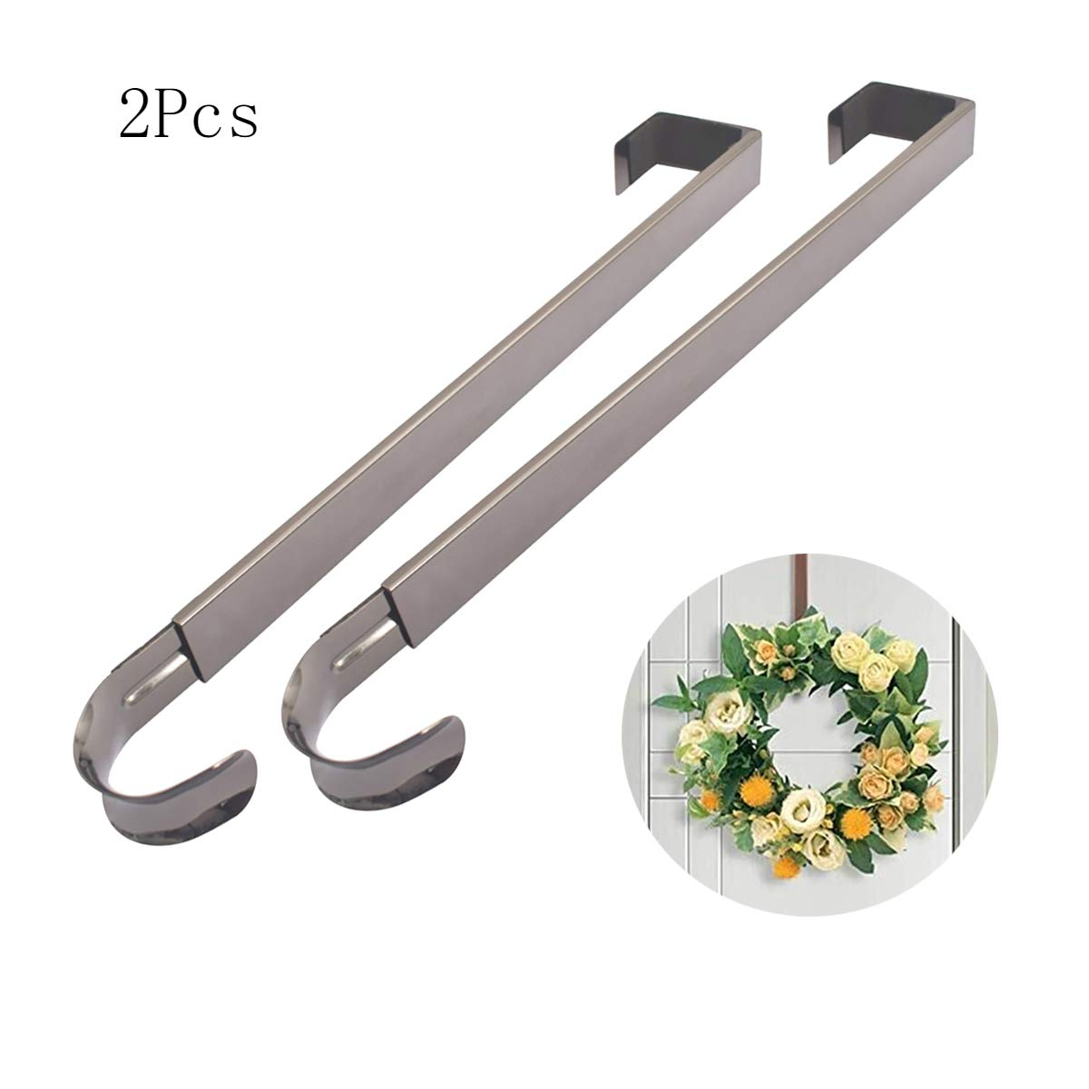 2Krmstr 2 Pcs Adjustable Wreath Holder,Wreath Hanger for Front Door,Metal Hook Hangers for Christmas Wreath(15.7 x 3.7in) by 2Krmstr