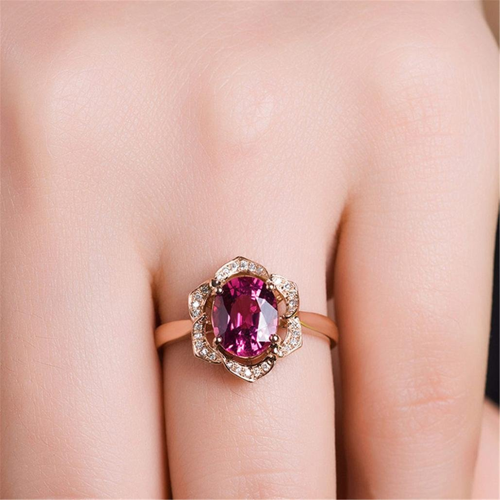 SMALLE◕‿◕ Clearance,Flower Crystal Wedding Ring for Women Jewelry Accessories Rose Gold Gold Engagem by SMALLE◕‿◕ (Image #6)