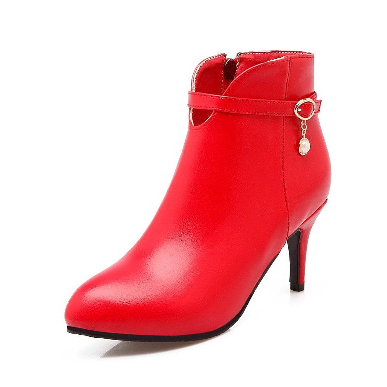 AalarDom Women's Solid Kitten Heels Pointed Closed Toe Pu Zipper Boots