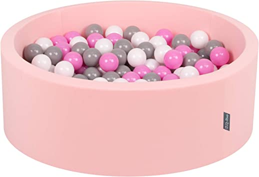 KiddyMoon 90X30cm//300 Palline /∅ 7CM Piscina Di Palline Colorate Per Bambini Tondo Fabbricato In EU Rosa Ch//Perla//Trasparente Beige Ch