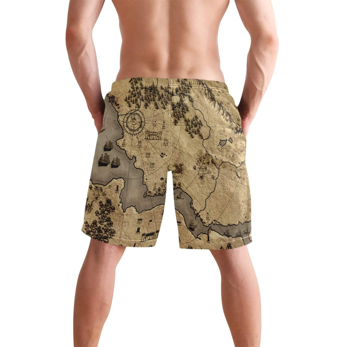 JERECY Mens Swim Trunks Vintage Nautical Wold Map Quick Dry Board Shorts with Drawstring and Pockets