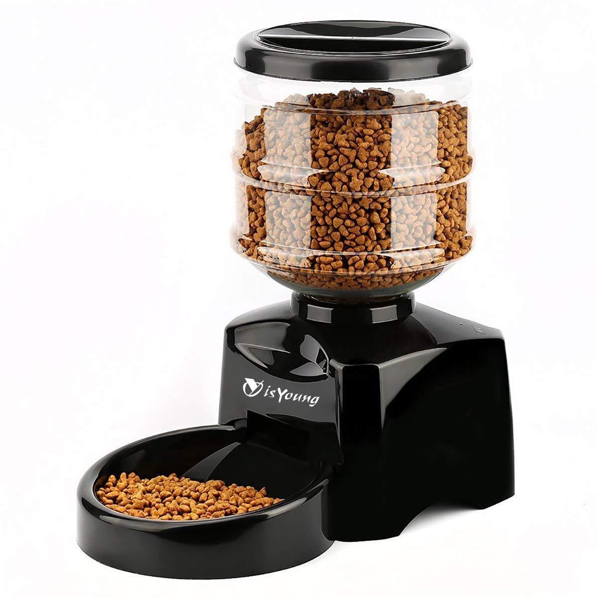 isYoung 5.5L dispensador automático de Comida con Pantalla Grande dispensador de Comida y comedero para Mascotas Perro, Gato y Animales domésticos: ...