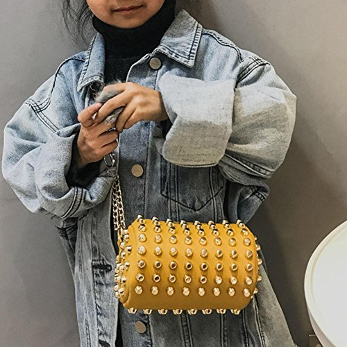 Girl Kids Women Yellow Bag Wallet Everpert Handbag Shoulder Rivets Chain Messenger Cylinder UwTqAqB4x