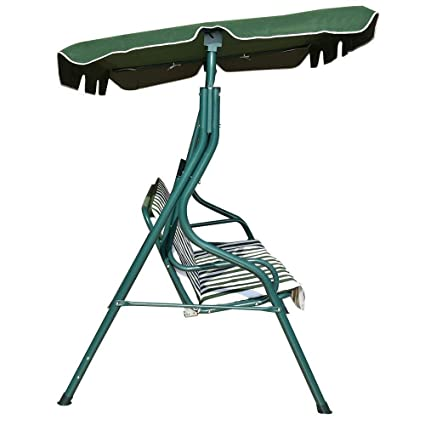 Good Concept 3 Seat Patio Canopy Swing Glider Hammock Cushion Steel Frame  Backyard Green