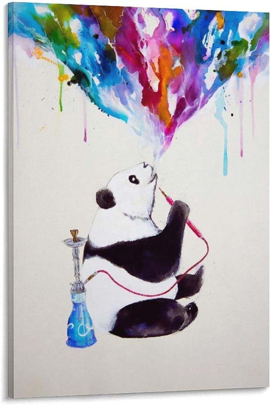 Póster de Shisha Panda en lienzo y pared con impresión moderna para dormitorio familiar, 60 x 90 cm