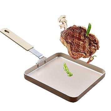 Tortilla antiadherente Cacerola cuadrada para huevo Panqueque Frito Bistec asa de pan de crepes Panqueque volteando utensilios de cocina: Amazon.es: Hogar