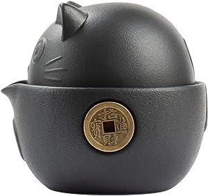 Dheera Portable Ceramic Tea Set, Cute Cat Series Travel Ceramic Tea Set with Tea Pot Tea Cups Travel Bag, Anti-scalding Design Vintage Kungfu Tea Set for Travel Office Home