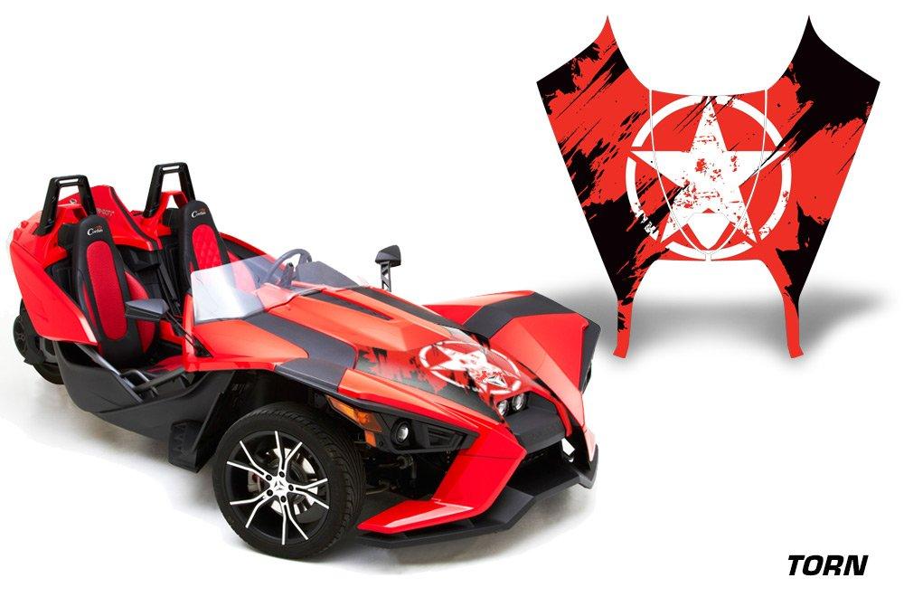 AMR Racing Graphics Polaris Slingshot SL 2015-2016 Vinyl Wrap Hood Kit - Torn Red