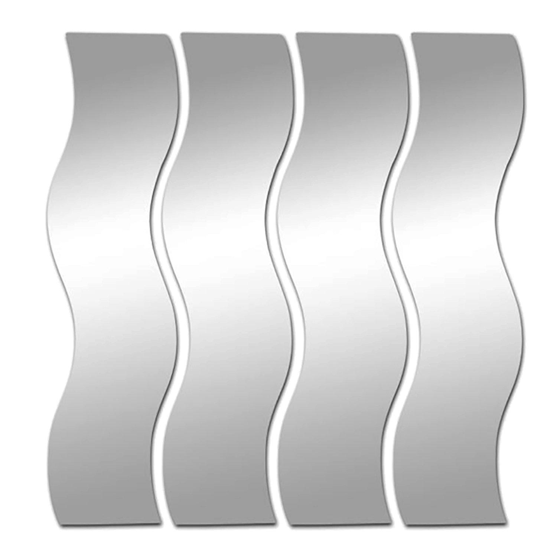 VIGORFUN 12 Stück Spiegelfliesen Selbstklebend, Abgerundete Ecke Spiegel  Aufkleber Wandspiegel Zum Wanddekoration (Silber, ...
