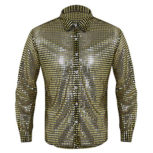 ACSUSS Men's Shiny Sequined Mesh Top Disco Dance Shirt Dude Costume Gold Large -