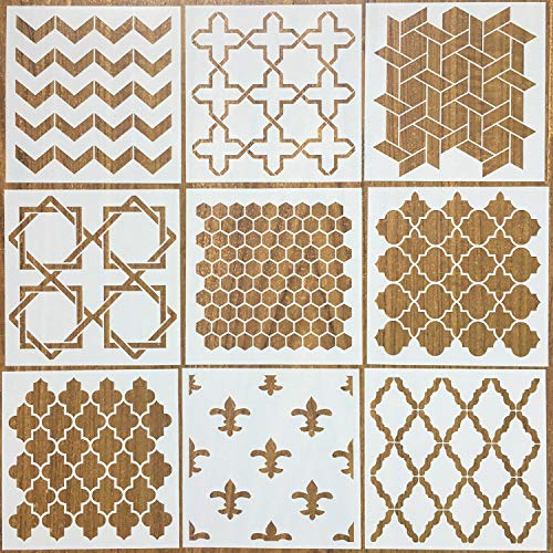 Moroccan Tile Stencil - Mandala Painting Stencils Laser Cut Painting Template Floor Wall Fabric Furniture Stencils, Set of 9 (6x6 inch)