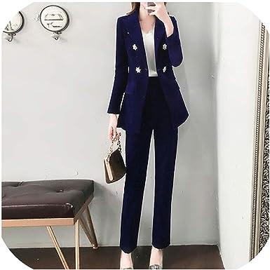 Juego De 2 Piezas Elegante Para Mujer Color Azul Chaqueta Y Nueve Pantalones Para Invierno Xl Amazon Es Ropa Y Accesorios