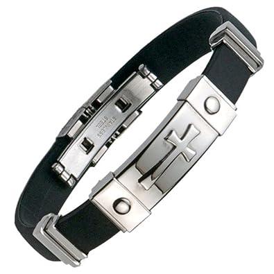 Amazon Com Unique Mens Stainless Steel Rubber Cross Bracelet