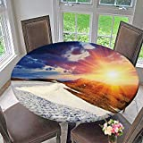 Mikihome Elasticized Table Cover Sunshine Clouds and Valley Sun Divider in College Machine Washable 50''-55'' Round (Elastic Edge)
