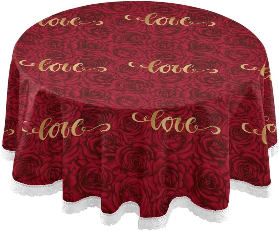 senya Round Tablecloths, Happy Valentine's Day Love On Romantic Rose Decorative Table Cloth Table Cover for Circular Table Dining Decorative for Holiday Home Christmas Party Picnic