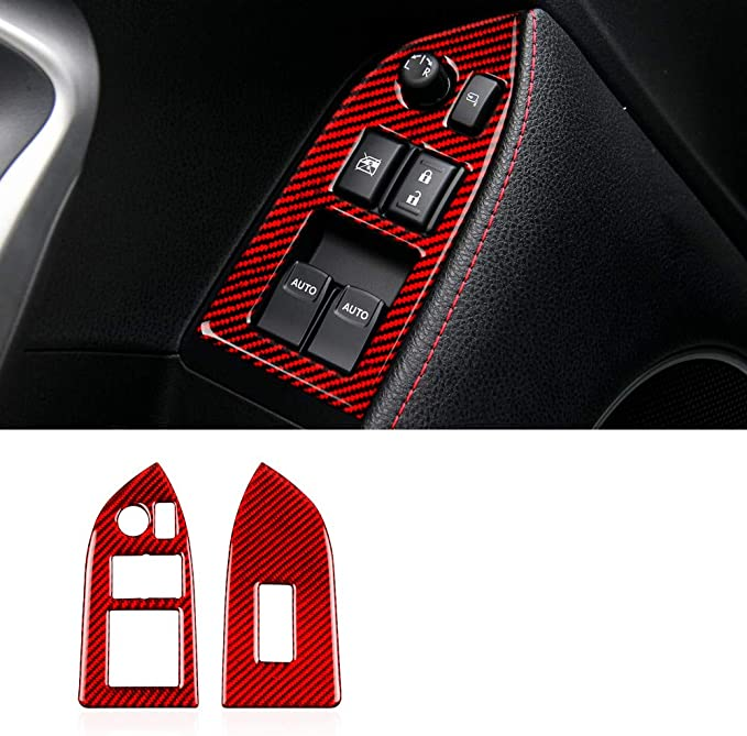 with Seat Heat-Red 1 Piece Real Carbon Fibre Interior Center Console Seat Heat Heating Button Cover Trim Stickers for Subaru BRZ Toyota 86 Styling Decals Accessories