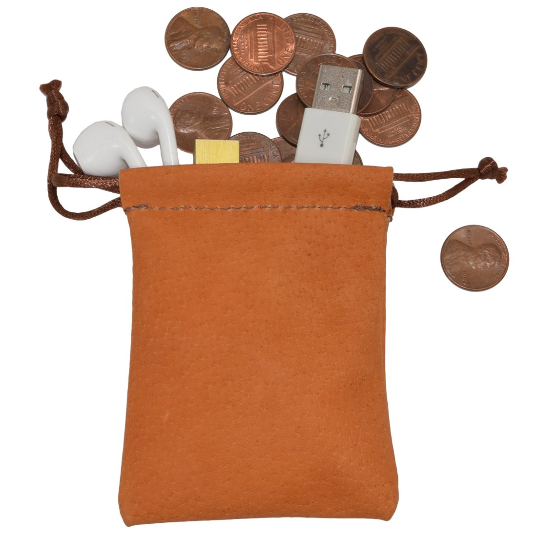 Sheepskin Coin/Cables/Small Board Games Pouch Handmade by Hide & Drink :: Tangerine