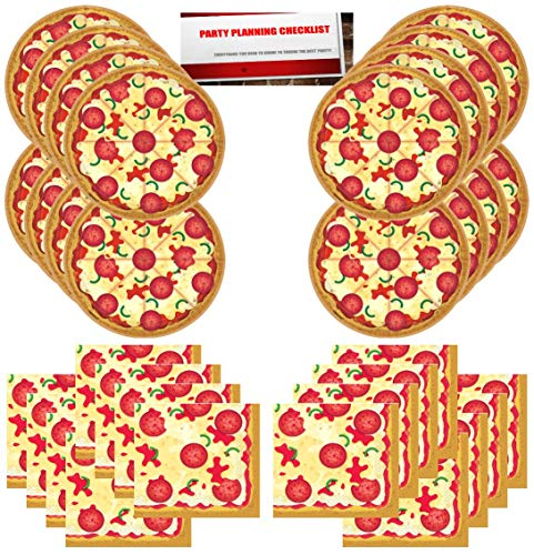 Pizza Party Supplies Bundle Pack for 16 Guests