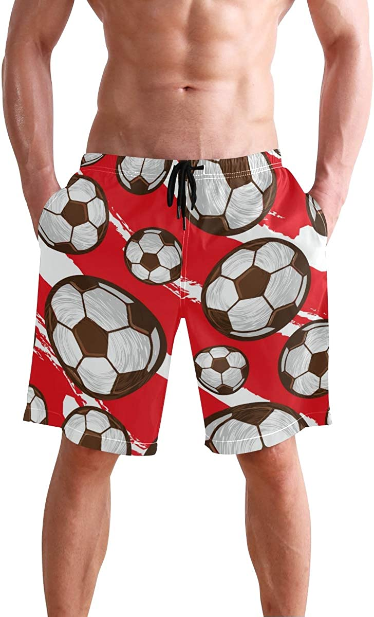 CENHOME Mens Swim Trunks Soccer Pattern Red White Graffiti Beach Board Shorts