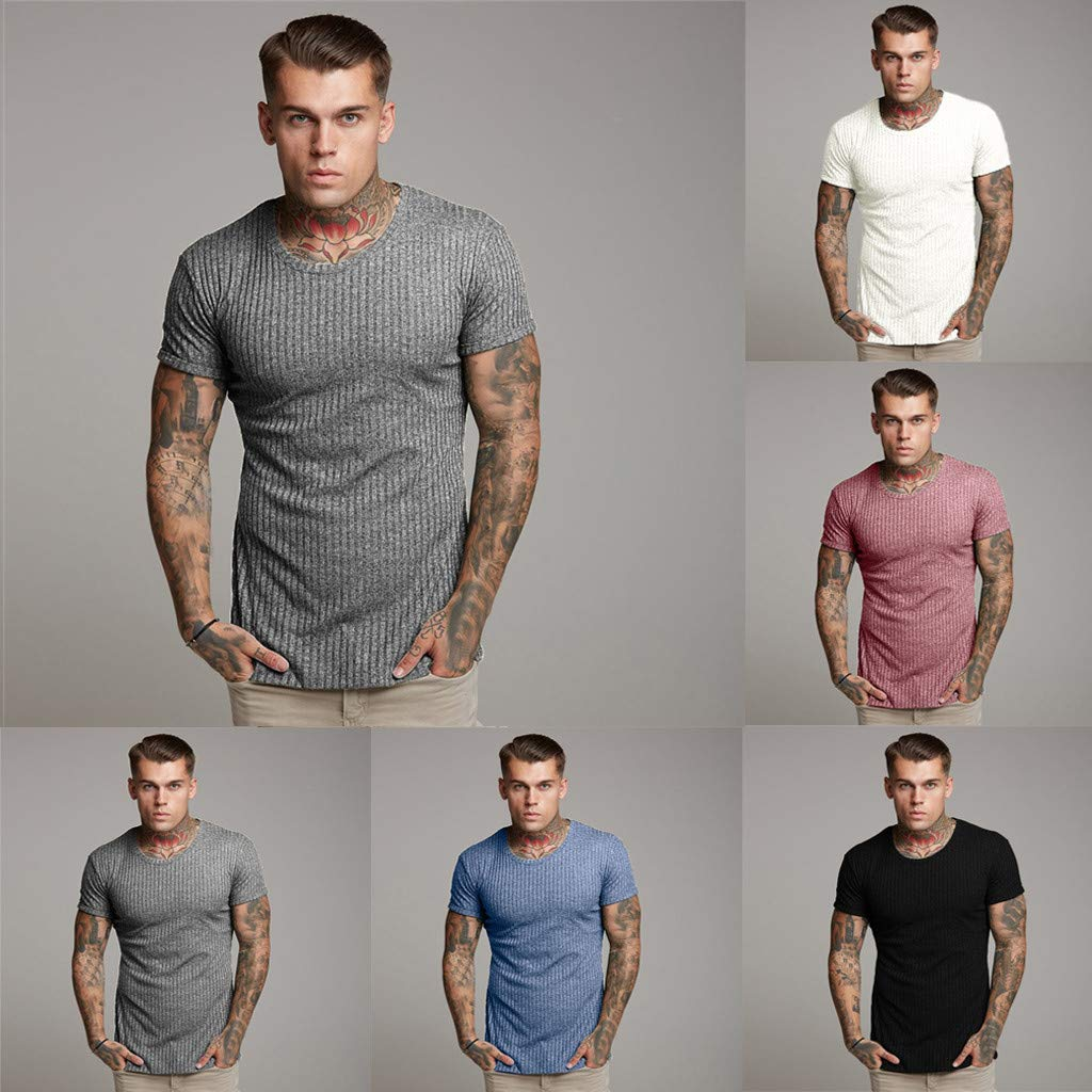 Donci Solid Color Simple Casual Slim Fit Tees Round Collar Vertical Stripe Summer New Basic Tops Hip Hop T Shirt Men