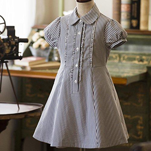 (キャサリンコテージ)CatherineCottage子供服フォーマル結婚式発表会女の子ストライプ半袖ワンピース140cm白×グレー