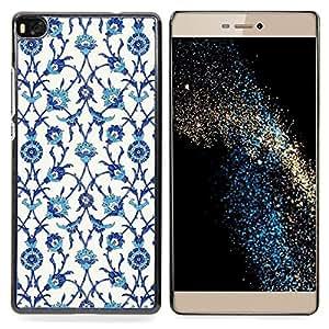 Stuss Case / Funda Carcasa protectora - Pájaros Flores Blanco Azul - Huawei Ascend P8 (Not for P8 Lite)