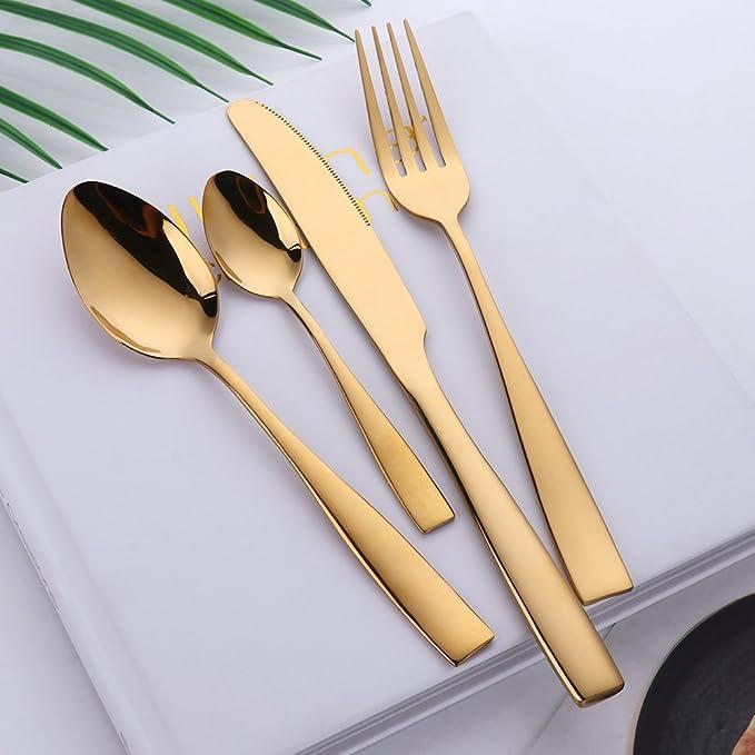 Buyer Star 16 Piezas Juego de Cubiertos Acero Inoxidable Lujo Cubiertos de Oro Juegos de vajilla para 4 Personas Dorado Utensilios de Cubiertos: Amazon.es: ...