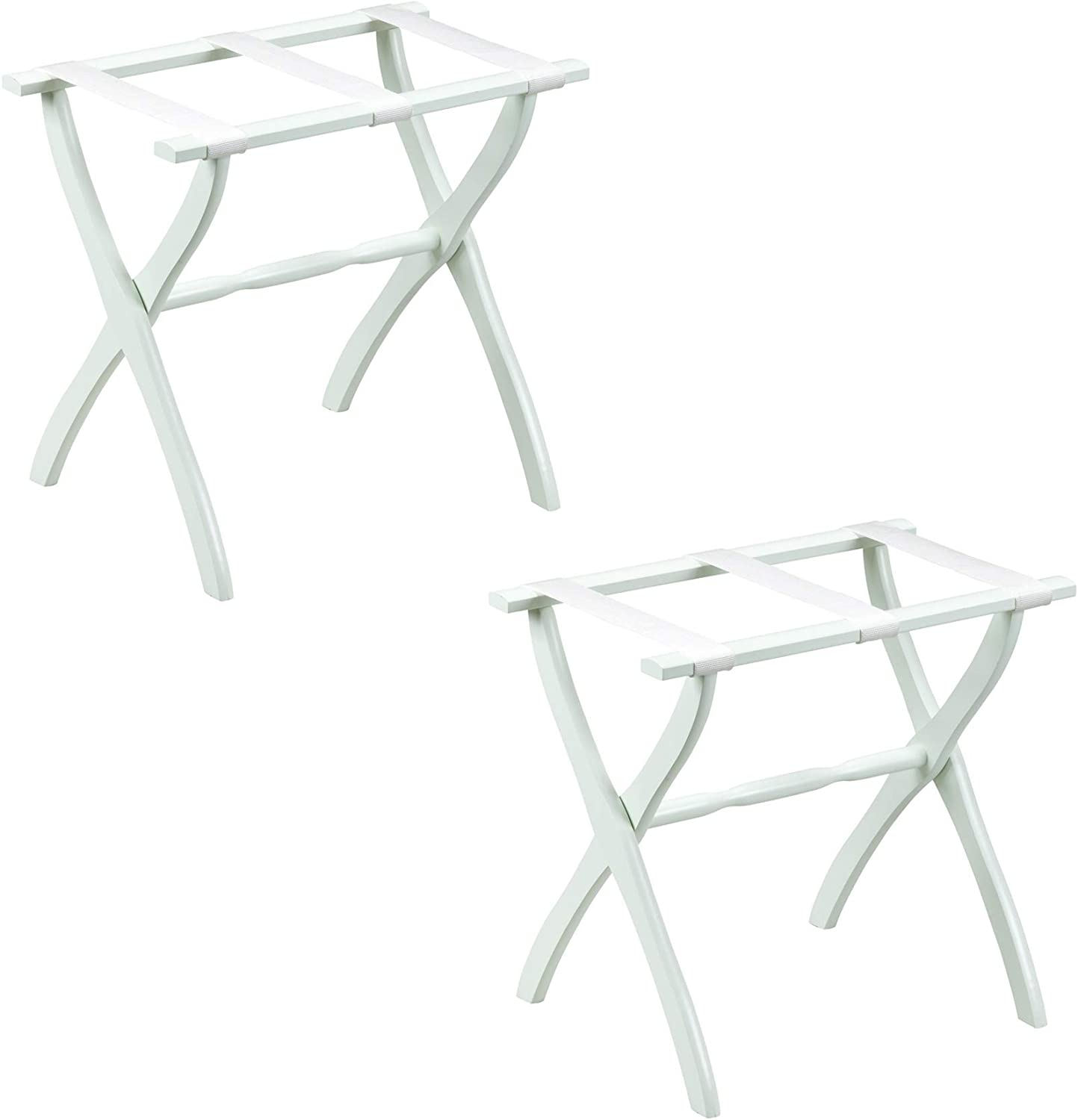 Gate House Furniture 2-Pack White Contour Leg Wood Luggage Rack 3 White Nylon Straps