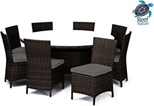 Reef Rattan Capri 9 Pc Round Dining Set - Chocolate Rattan / Grey Cushions